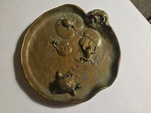 Vintage Mcclelland Barclay Bronze Art Nouveau Dish Frogs Turtles Salamander Pond
