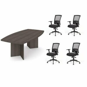 5 Piece Office Set With Conference Table And set Of 4 Office Chairs