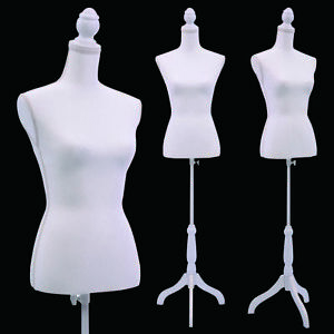 New Female Mannequin Torso Clothing Display W Tripod Wooden Base White
