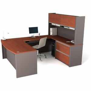 Bestar Connexion U shaped Computer Desk And Hutch With Filing Cabinet Bordeaux