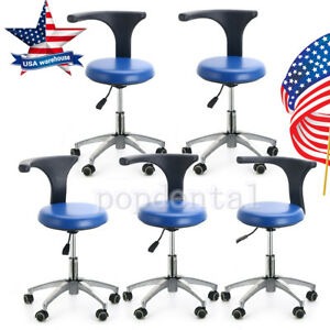 5x Dental Dentist Doctor Assistant Stool Adjustable Mobile Chair Pu Leather Sale