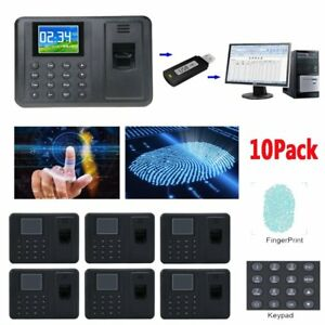 10x Time Attendance Clock Recorder Clocking Machine Fingerprint Usb password Vi