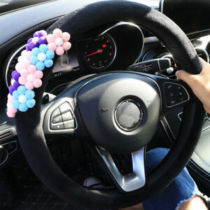Plush Flower Steering Cover Universal For 38cm Steering Wheel Wrap Girls Women