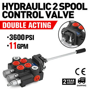 2 Spool Hydraulic Control Valve 11gpm Double Acting Small Tractors Adjustable