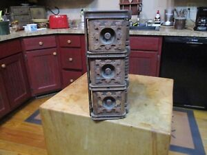 Antique Set Of Three Stacking Drawers From An Old Treadle Sewing Machine