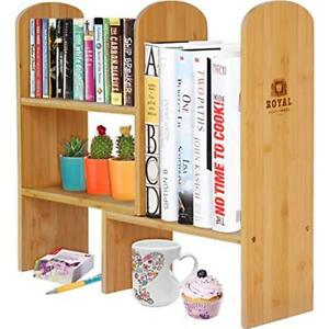 Desktop Offsurface Shelves Expandable Natural Bamboo Organizer Accessory For