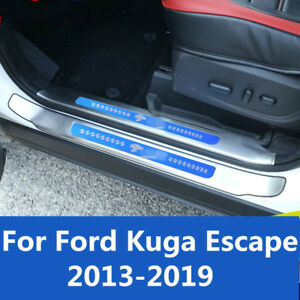 Stainless Steel Welcome Peda Door Sill Strip Pedal For Ford Kuga Escape 2013 19