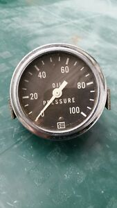 Vintage Stewart Warner Oil Pressure Gauge 0 100 Psi 429324 Gasser Rat Rod
