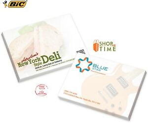 Bic 4 X 4 Adhesive Notepad 25 Sheet Pad Printed With Your Logo Text 500 Qty