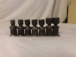 Snap on Tools 3 8 Drive Metric Swivel Shallow Impact 6 point Socket Set 7pcs