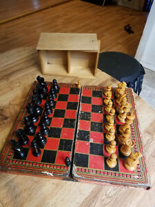 Antique Checkerboard Chess Set Folding Book Backgammon Set Evening At Home