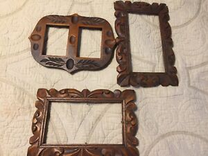 Three Old Vintage Carved Wood Picture Frames
