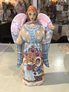 Hand Carved And Painted Wood Angel Figurine