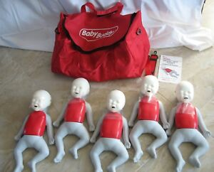Baby Buddy Infant Cpr 5 Manikins Excellent Condition Carry Bag Lungs Tool