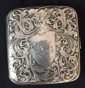 Pegasus Antique Art Nouveau Sterling Silver Ornate Cigarette Case
