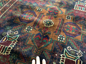 4x7 Vintage Hand Knotted Persian Rug Wool Antique Rugs Caucasian Blue Green 4x6