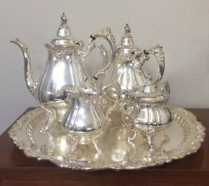 Antique Silverplate Wallace Baroque Coffee Tea Pot Creamer Sugar Tray 6 Pc Set