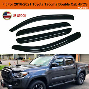 4pc Window Visor Vent Shade Deflector For 2016 2019 Toyota Tacoma Double Cab
