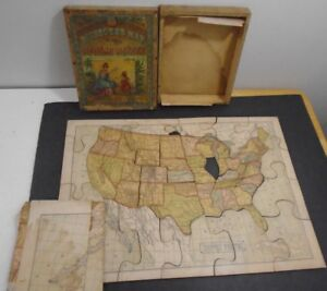 Antique 1887 Dissected Map Of The United States Puzzle Mcloughlin Bro S