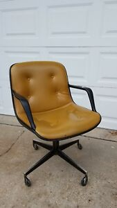 Vintage Pollock Knoll Desk Swivel Chair Executive Office Mustard Mid Century