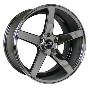 20x9 20x10 5 5x114 3 Str 607 Black Chrome Honda Toyota Chevy Dodge 350z 370z Low
