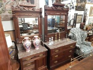 Antique Victorian Eastlake Walnut Marble Top Dresser And Washstand Set Of 2