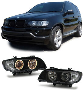Black Xenon D2s Headlights For Bmw X5 E53 9 1999 10 2003 Prefacelift Nice Gift