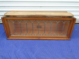 Globe Wernicke Oak Leaded Glass D 10 1 4 110 298 1 2 Barrister Bookcase Section