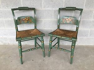 L Hitchcock Pair Of Fruit Decorated Crown Back Rush Bottom Side Chairs