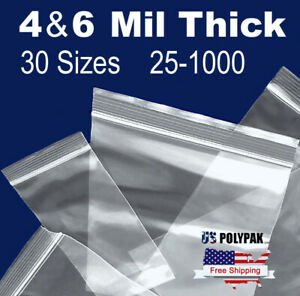 4 mil Clear 6 mil Ziplock Heavy duty Reclosable Zip lock Top Plastic Zipper Bags