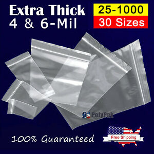 Clear Thick 4 mil Ziplock Bags Heavy duty Reclosable Zip Top Plastic Zipper Poly