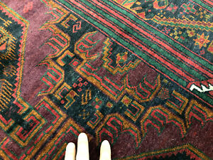 4x6 Antique Hand Knotted Persian Rug Wool Caucasian Black Purple Teal Coral 4x7
