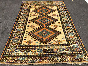 4x6 Caucasian Persian Rug Antique Hand Knotted Wool Foundation Rugs Rust 4x5 Ft