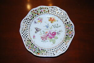 Carl Thieme Saxonia Hp Dresden Flowers Scalloped Reticulated Cabinet Plate 1