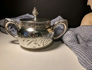 Antique Oneida Silver Plate Plated Etched Sugar Bowl W Lid