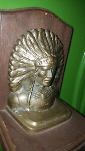 Beautiful Large Vintage Brass Bronze Native American Chief Bookend Look