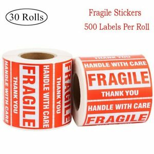 30 Rolls 2x3 Fragile Stickers Handle With Care Thank You 500 Labels Per Roll Us