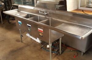 Xl Quality 107 3 Bay Bowl Sink 3 Lever Drains 2 Drainboards Used Wasserstrom