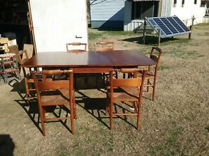 Antique Henkel Harris Mahogany Dn Rm Table 6 Wooden Chairs Woven Rush 1957