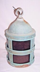 Antique Riveted Copper Hanging Porch Light 10 3 4 Tall Vintage Lighting