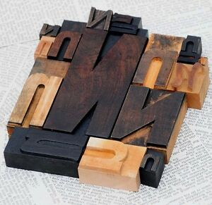 Nnnnn Mixed Set Of Letterpress Wood Printing Blocks Type Woodtype Wooden Printer