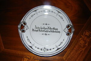Superb Very Early Victorian German Kpm Silver Anniversary Porcelain Tray Plate