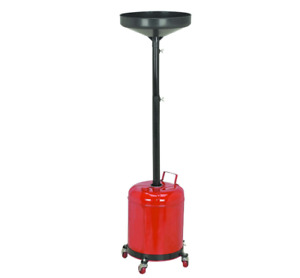 5 Gal Oil Drain Dolly Hydraulic Fluids Auto Overhead Lifts Easy Pour Swivel Roll