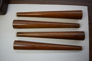 Set 4 Vintage Mid Century Atomic Tapered Wood Legs 12