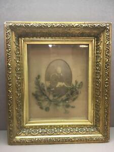 Victorian Hair Mourning Wreath Shadow Box With Photo Of Woman Gilt Frame
