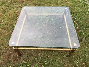 Vintage Hollywood Regency Style Brass Glass Top Coffee Table Bamboo Look 36x36