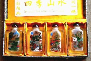 Vintage Set Of 4 Crystal Inside Hand Painted Snuff Bottles With Lid In Box