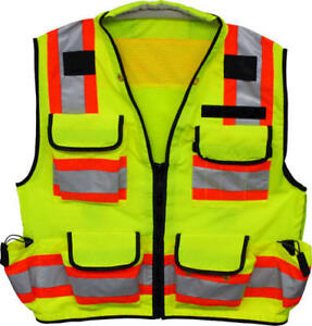 Xlarge Class 2 High Visibility Green Multi Pocket Zipper Front Surveyors Vest