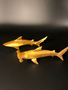Hand Carved Wooden Hammerhead Shark And Reef Shark From The Bahamas