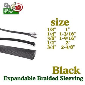 Expandable Wire Braided Cable Sleeve nylon Sleeving Protect Hot Black 50ft Lot